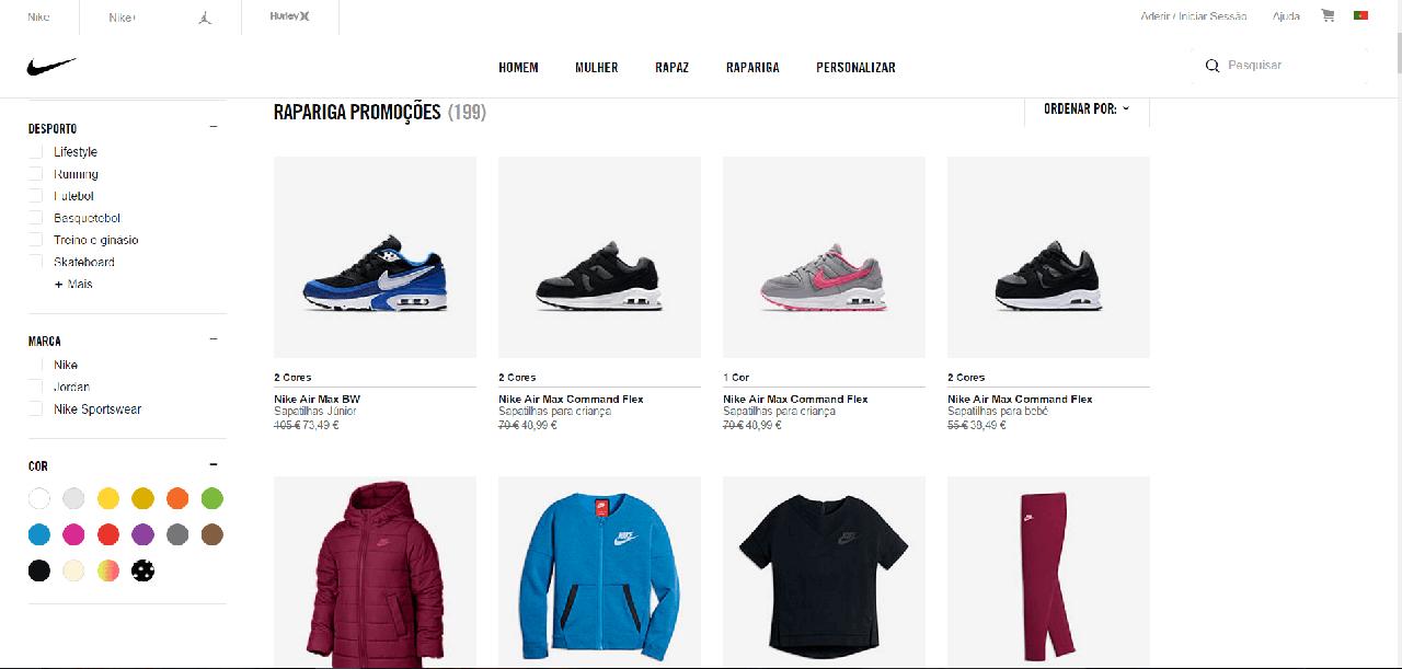 Desconto Nike em artigos de criança