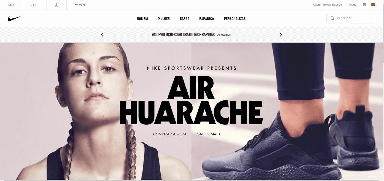 como navegar no site da Nike