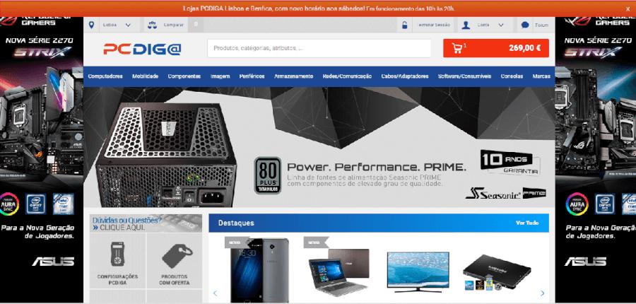 Página inicial do site da PCdiga