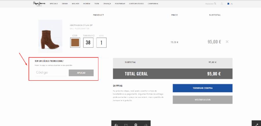 Como aplicar o código de promocional Pepe Jeans