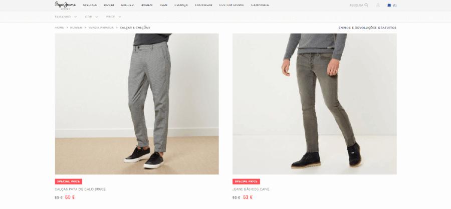 Descontos em roupa masculina