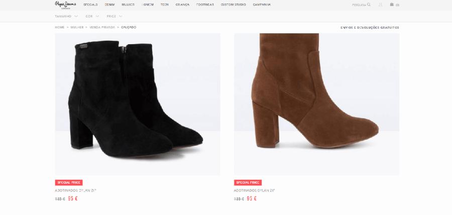 Descontos em sapatos femininos na Pepe Jeans