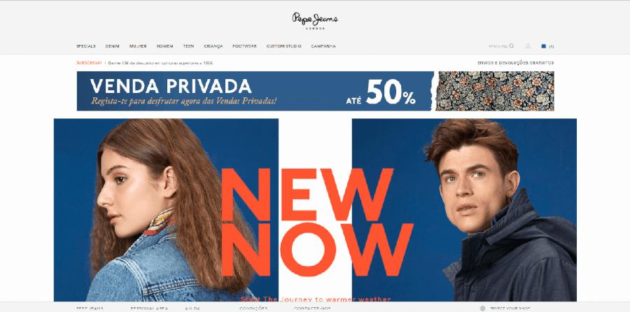 Página inicial do site da Pepe Jeans