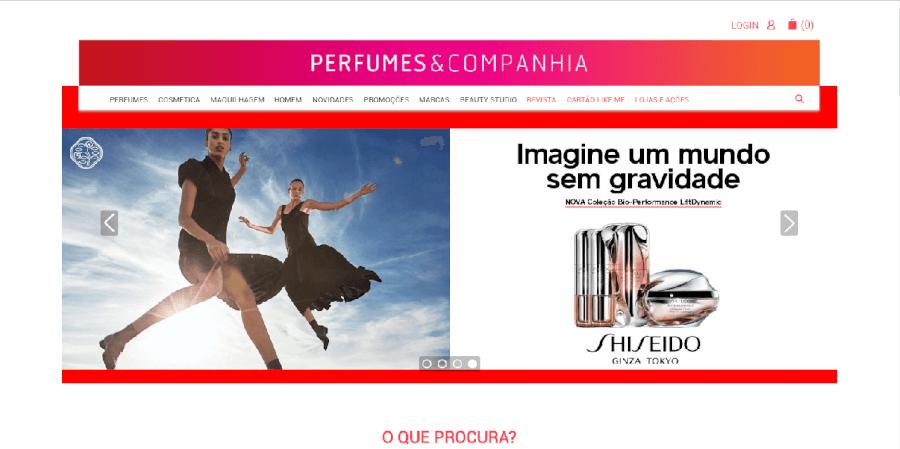 como navegar no site da Perfumes e Companhia