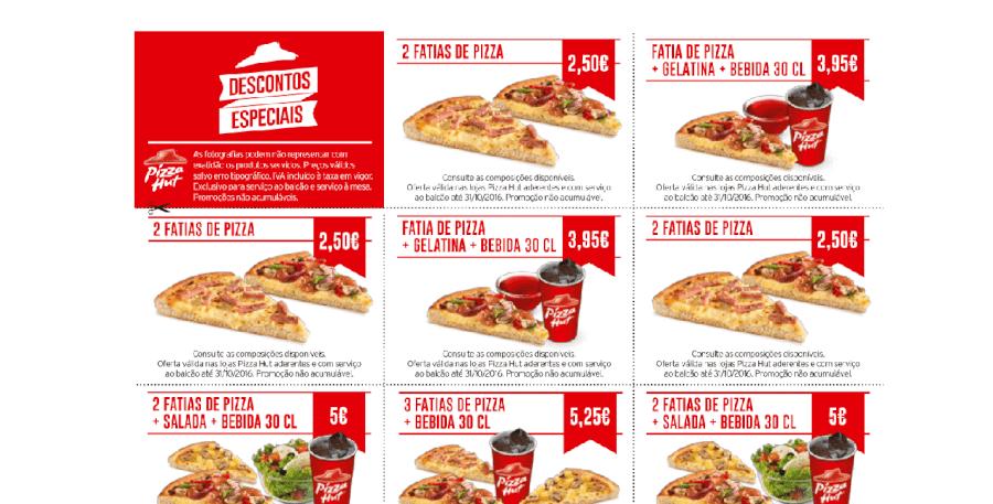 Diversos cupões de desconto na Pizza Hut