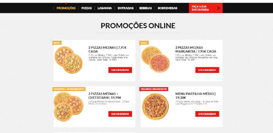 Página inicial do site da Pizza Hut