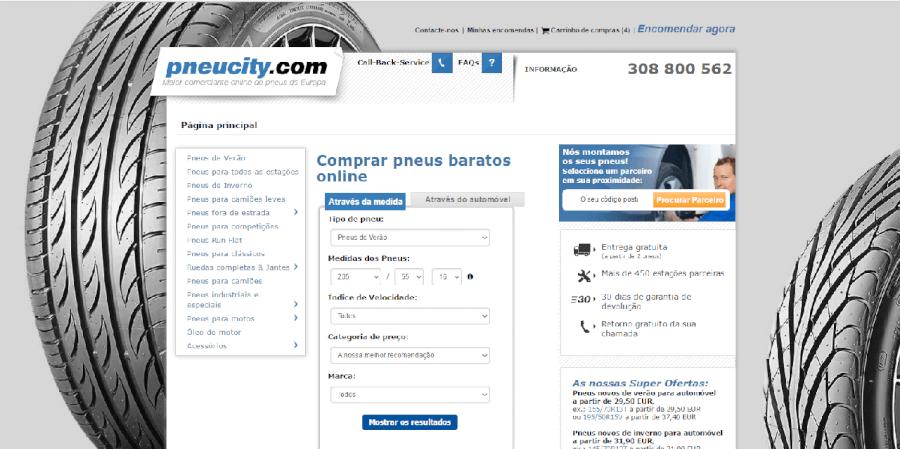 Página inicial do site da Pneucity