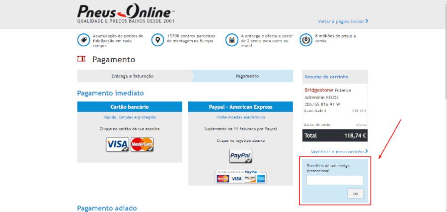 Como aplicar código promocional da Pneus Online