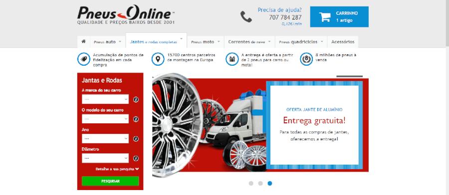 Página inicial do site da Pneus Online