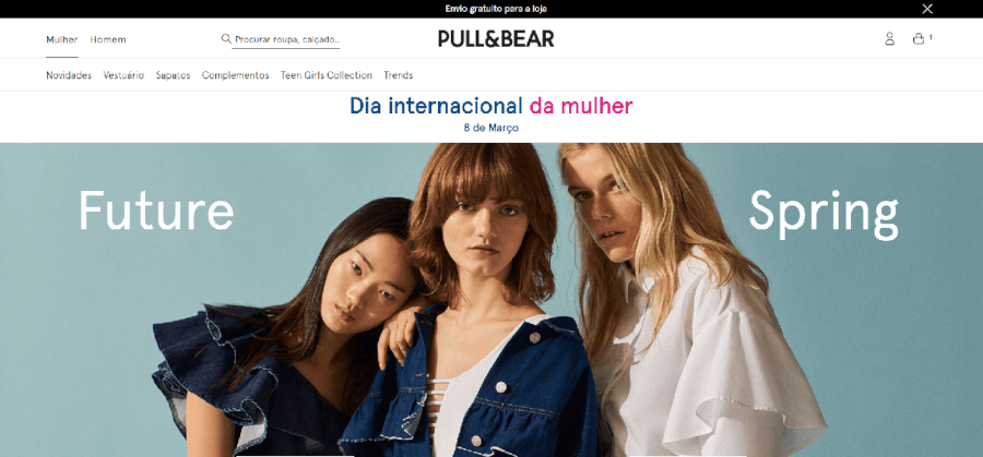 Página inicial do site da Pull & Bear