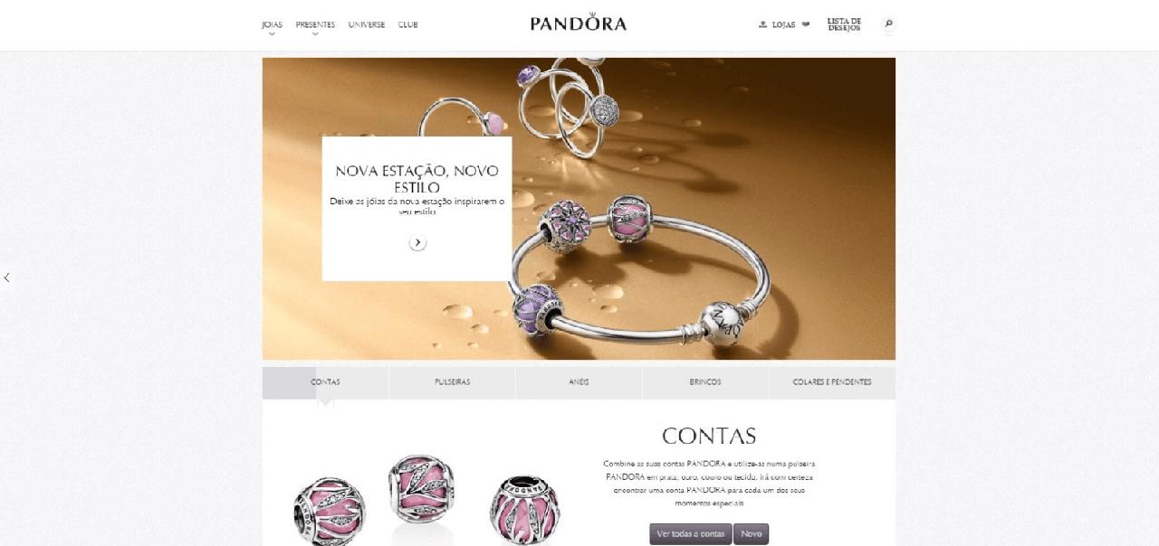 Página inicial do site da Pandora