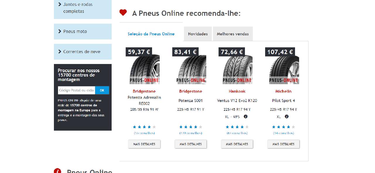 Vários pneus para aquisição na pneus online