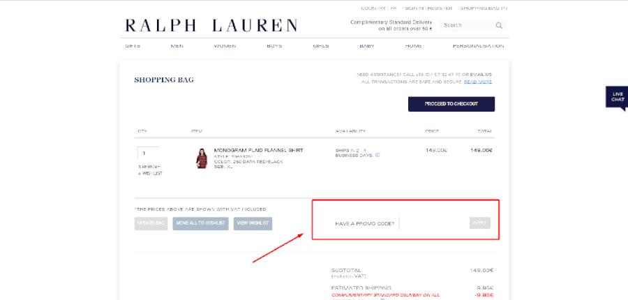 Como aplicar o promo code Ralph Lauren