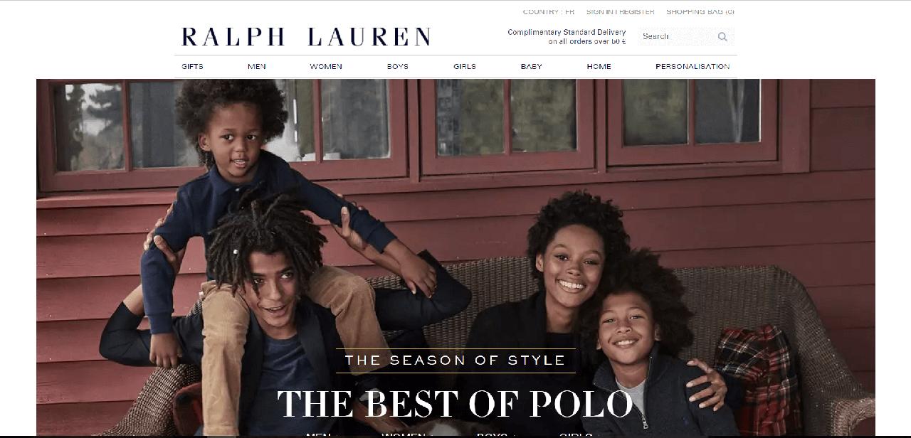 como navegar no site da Ralph Lauren