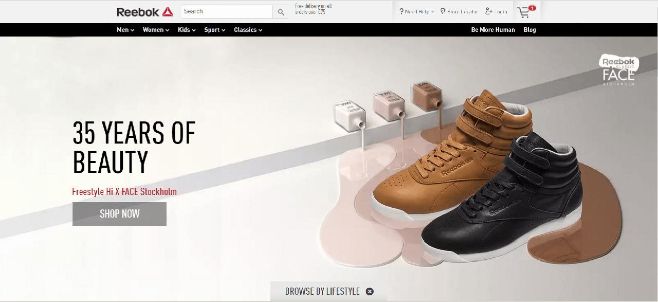 Página Inicial do site da Reebok