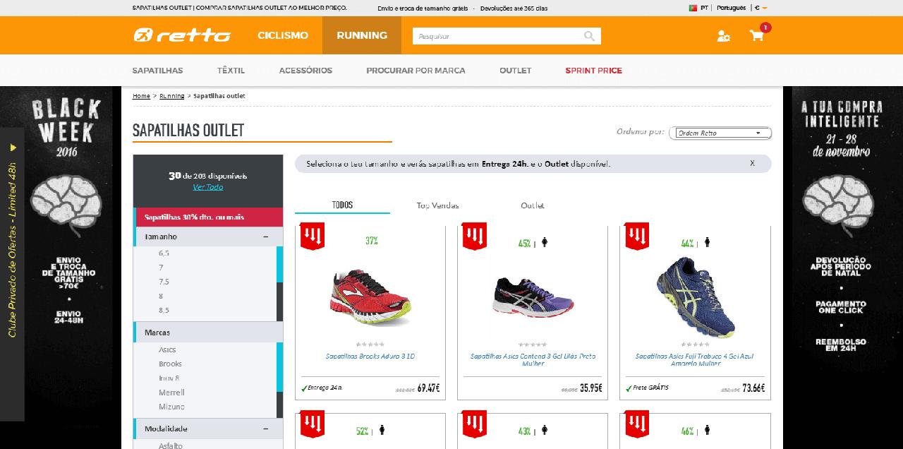 Descontos em produtos de running Retto