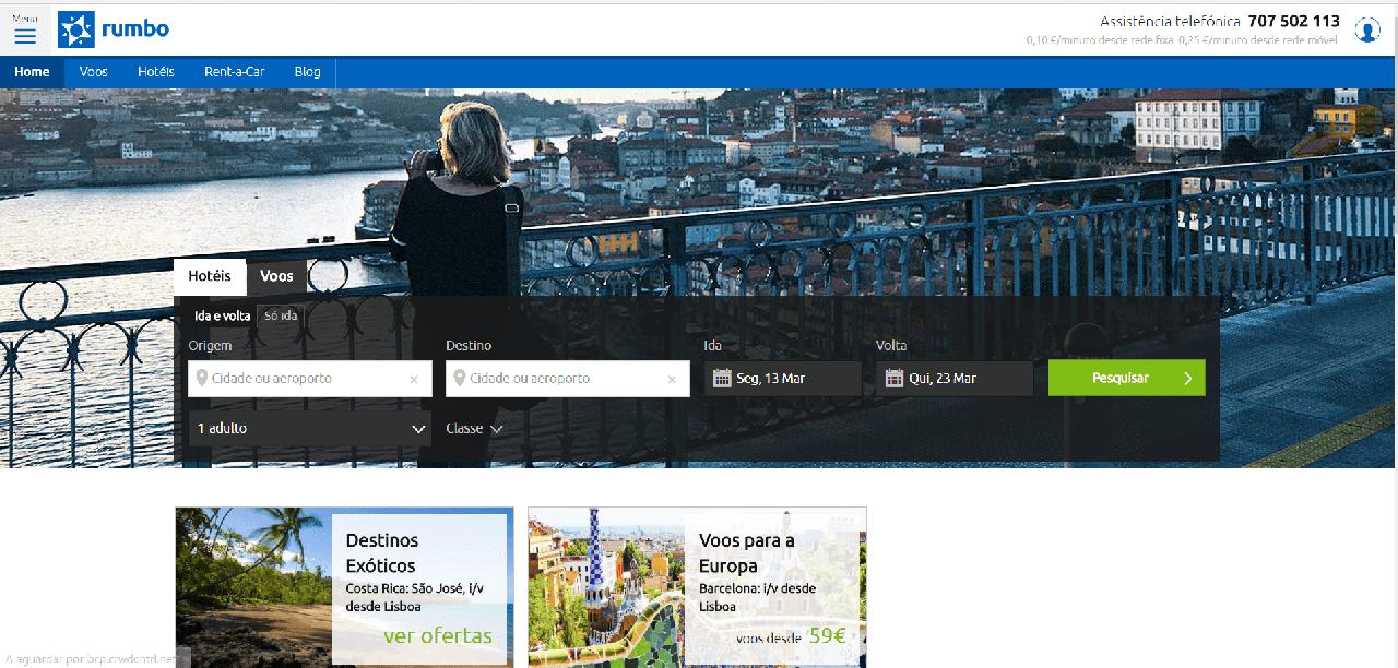Página inicial do site da Rumbo