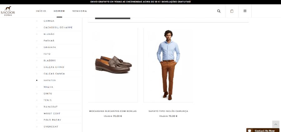 Vários descontos em moda masculina na Sacoor