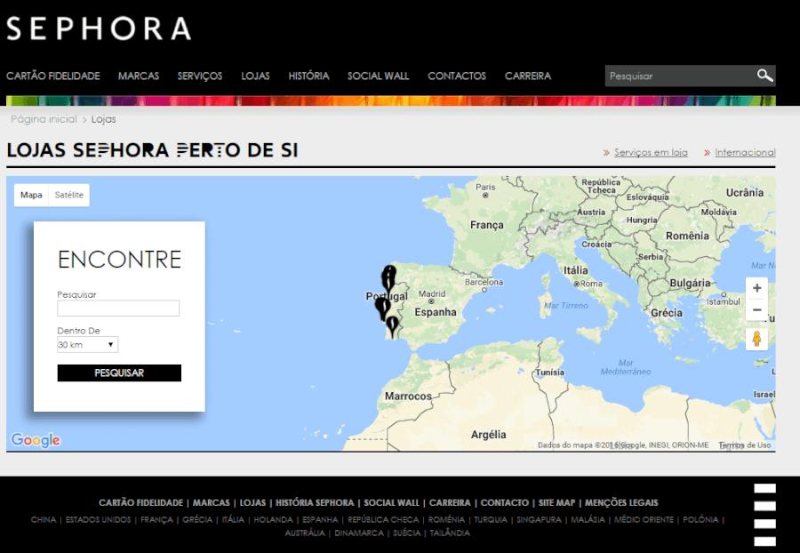 Pesquisa de lojas Sephora perto de si