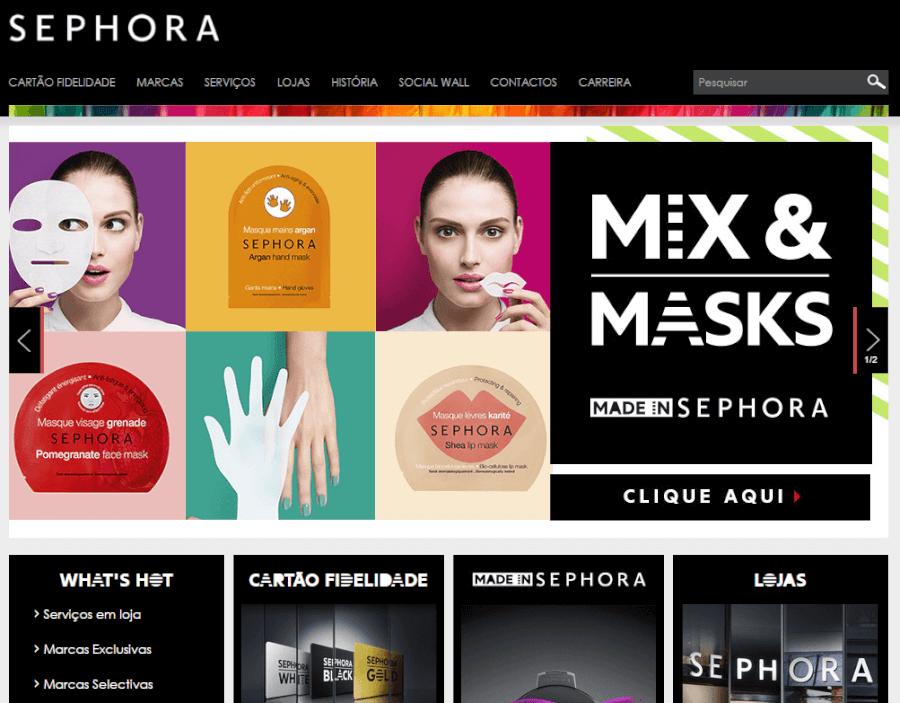 como navegar no site da Sephora