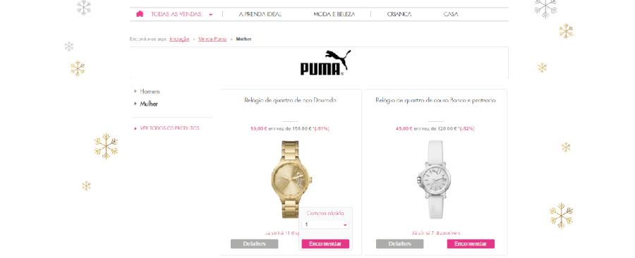 Descontos até 62% em relógios da marca Puma