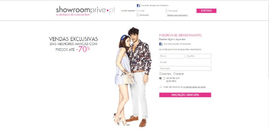 como navegar no site da Showroom Prive