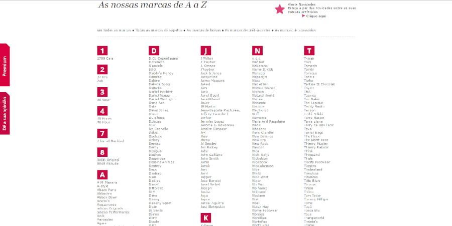 Algumas das marcas que se encontram à venda na Spartoo