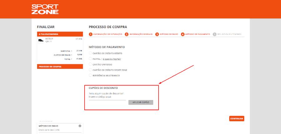Como aplicar os cupões de desconto Sportzone