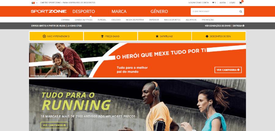 Página inicial do site da Sportzone
