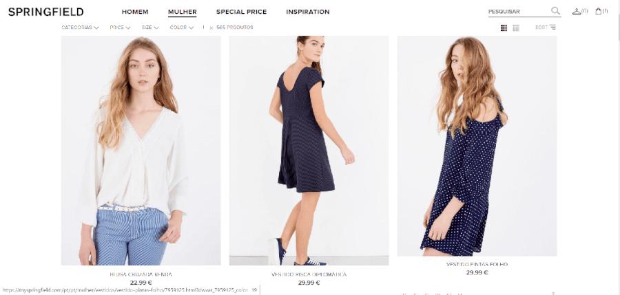 Várias peças de roupa para mulheres