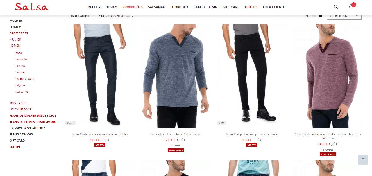 Descontos até 50% em roupa masculina