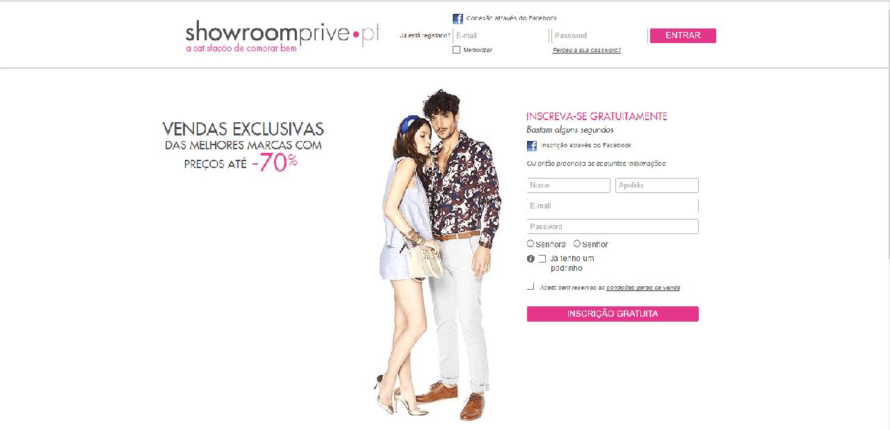 como navegar no site da Showroom Prive