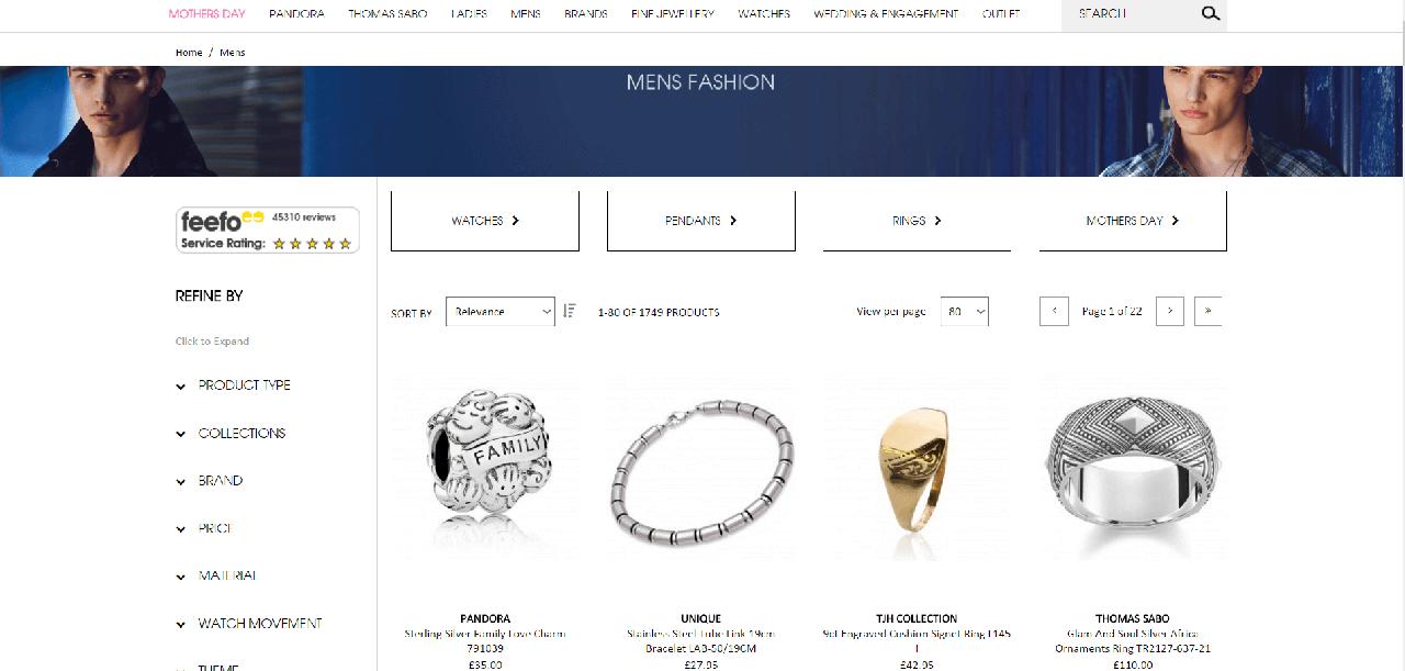 Vários produtos de joalheria para homem
