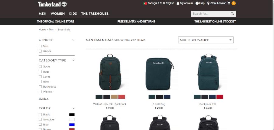 Diversas mochilas para homem da Timberland