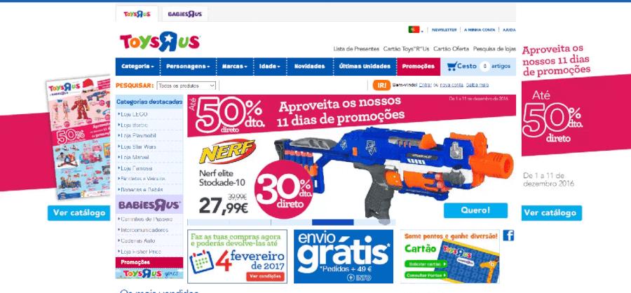 como navegar no site da ToysRus