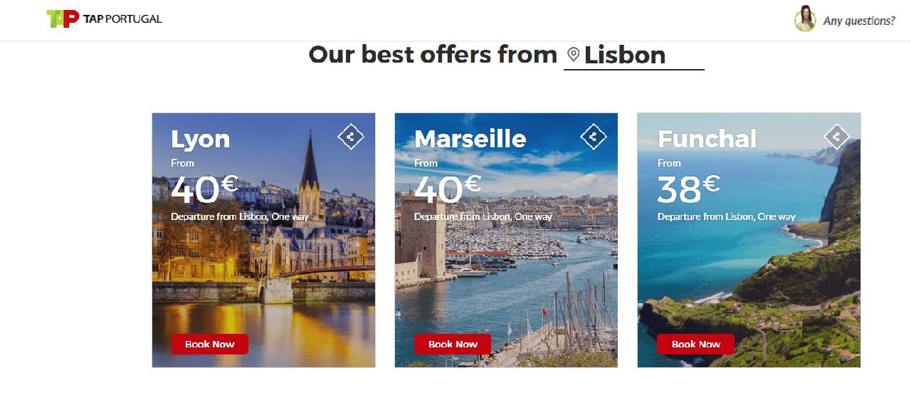 Voos TAP com partida de Lisboa a ótimos preços