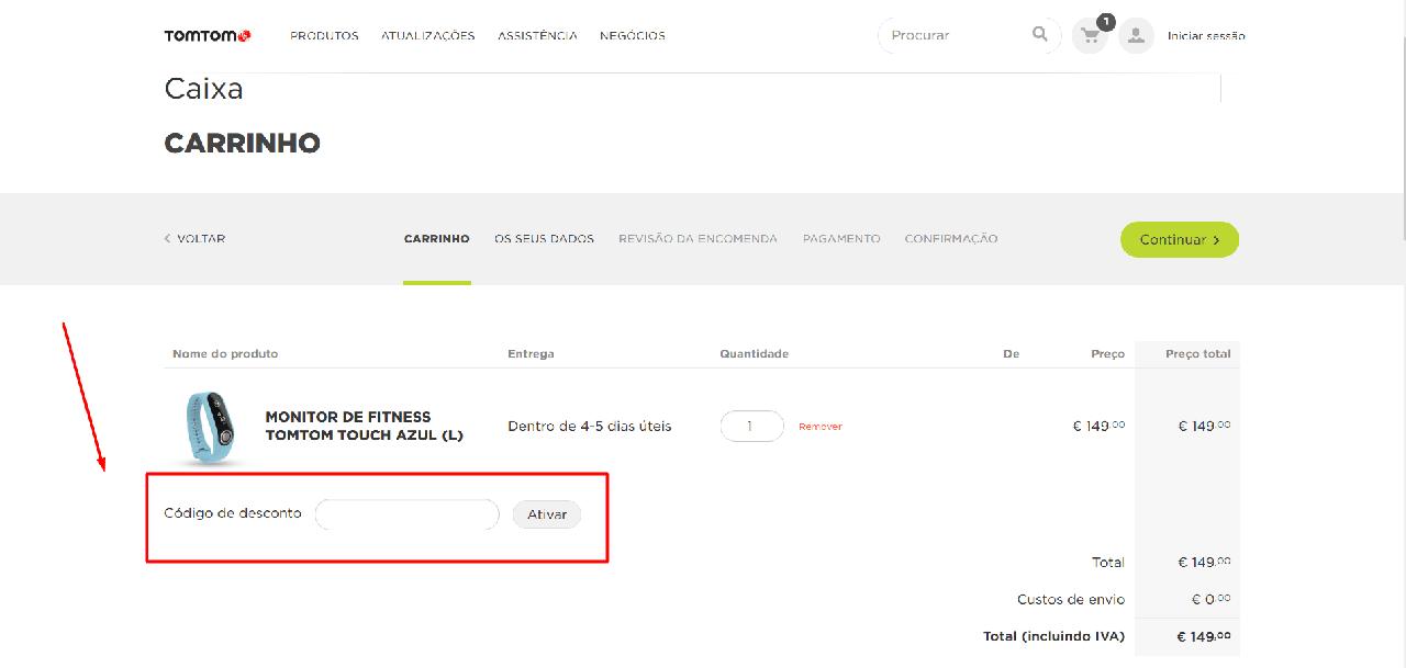 Como aplicar os códigos de desconto Tomtom