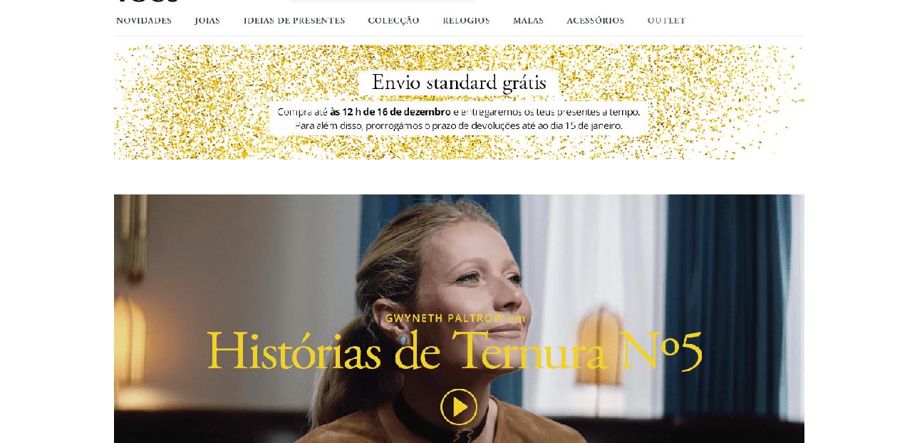 Página inicial do site da Tous