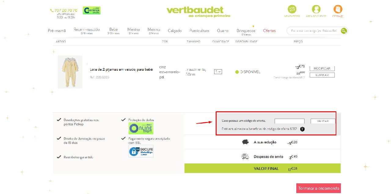 Como aplicar o código de oferta Vertbaudet