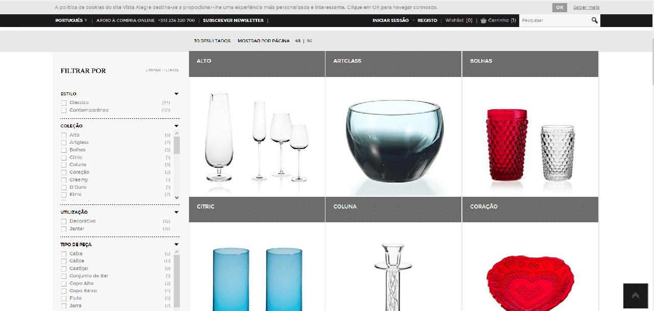 Vários produtos vidro da marca Vista Alegre