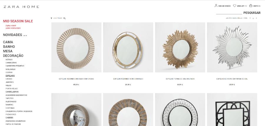 Vários espelhos para venda na Zara Home
