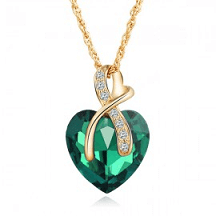 colier inimă verde
