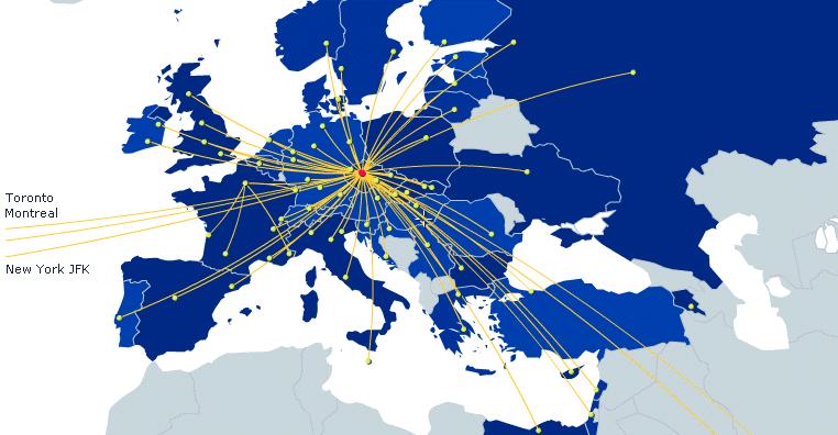 Карта полётов Чешских авиалиний
