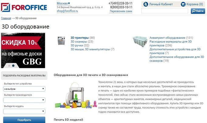 Ассортимент интернет-магазина