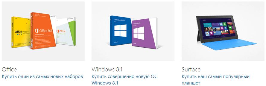 Основные продукты Microsoft: Office, Windows, планшет Surface