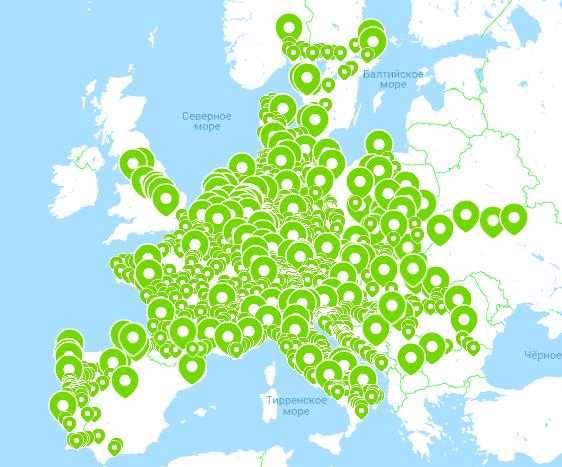 Карта маршрутов FlixBus