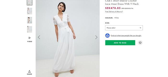 Vit klänning för dam