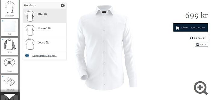 Bilden visar hur en skjorta för män designas