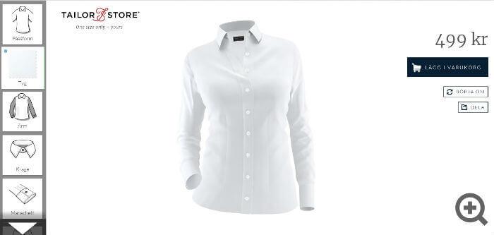 Bilden visar hur en skjorta för kvinnor designas