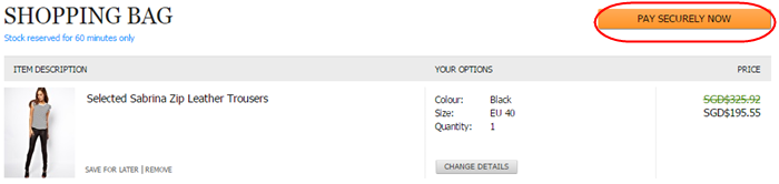 easy and secure payment process at ASOS